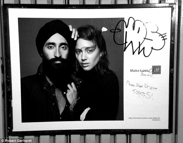 Anti-Muslim graffiti was found blanketing a GAP ad featuring the Sikh jewelry designer and actor Waris Ahluwalia on a New York City subway platform.